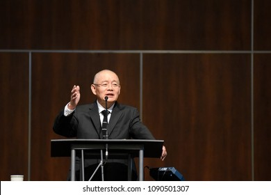 MISSISSAUGA - AUGUST 13:  Pastor Hyeon Soo Lim who was held in North Korea for over 2 years speaks during the morning service after his return to his church on August 13 2017 in Mississauga, Canada.