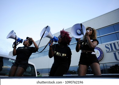 MISSISSAUGA - AUGUST 25: Agitated black lives matter activists chanting slogans while  protesting the death of Abdirahman Abdi, who was killed by Ottawa police on August 25 2016 in Mississauga,Canada