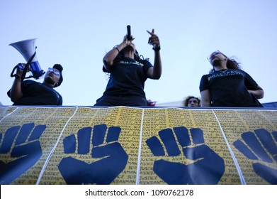 MISSISSAUGA - AUGUST 25: Black lives matter activists chanting slogans while  protesting the death of Abdirahman Abdi, who was killed by Ottawa police on August 25 2016 in Mississauga,Canada