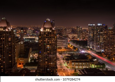 Mississauga brampton peel region city night panorama skyline in Toronto Ontario Canada