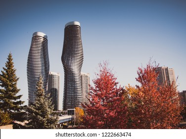 Mississauga, Canada - 30 OCTOBER, 2018: Twisted modern buildings in downtown - landscape sunny day