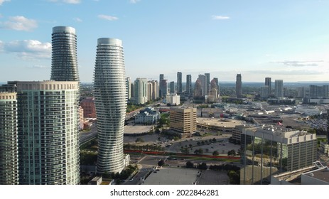 Mississauga, Canada - August 2, 2021: Downtown Mississauga, Ontario, Canada. The skyline as seen from an aerial view. Absolute buildings and Square One shopping mall.