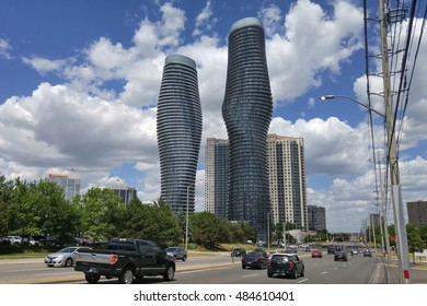 MISSISSAUGA, CANADA - AUGUST 2016: Downtown Mississauga along Burnhamthorpe street on a sunny afternoon.