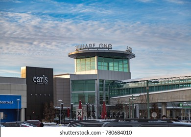 MISSISSAUGA, CANADA - DECEMBER 23, 2017: Beautiful View of the Square One Shopping centre on a snowy day