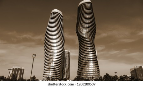MISSISSAUGA CANADA - JAN 14 2019: Absolute World Condos, nicknamed the Marilyn Monroe building, is a residential condominium twin tower skyscraper complex