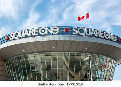 MISSISSAUGA, CANADA - JUNE 6 2014: The Square One Shopping Center sign, located in Mississauga, Ontario, Canada. The 3rd largest mall in Canada.