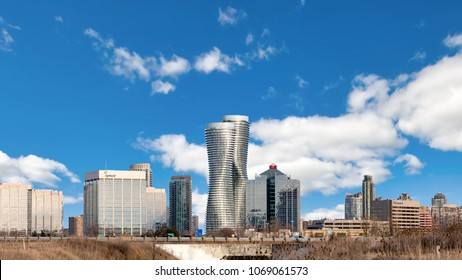 MISSISSAUGA, CANADA - MARCH 30, 2018: Beautiful Panoramic View of the Absolute World Residential twin tower buildings in the city