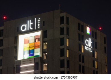 MISSISSAUGA, CANADA - May 11, 2020: alt Hotel logos seen at night, atop of a location near Toronto Pearson Airport.