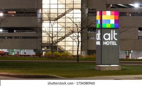 MISSISSAUGA, CANADA - May 11, 2020: alt Hotel logo out-front of a hotel location, shot at night near Toronto Pearson Airport.