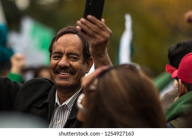 MISSISSAUGA, CANADA - OCT 5, 2014: Man at Pakistani protest. Members of the Pakistani community in Mississauga, Canada protest against Nawaz Sharif, the Prime Minister of Pakistan.