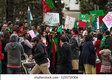 MISSISSAUGA, CANADA - OCT 5, 2014: Crowd Protest. Members of the Pakistani community protest against Nawaz Sharif, the Prime Minister of Pakistan in Mississauga, Canada.