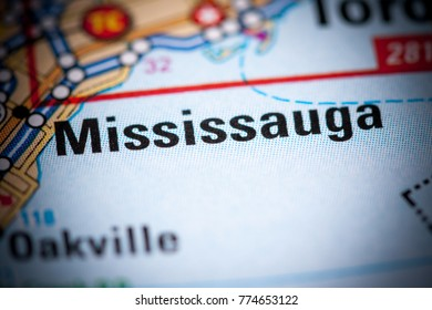 Mississauga. Canada on a map.