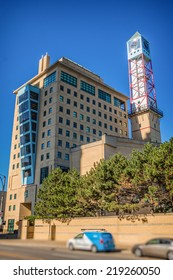 MISSISSAUGA, CANADA - SEPTEMBER 23, 2014: The Civic Centre building, or City Hall, in downtown Mississauga, Ontario, Canada. Shot on a sunny day from the southwest.