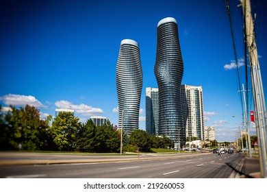 MISSISSAUGA, CANADA - SEPTEMBER 23, 2014: Downtown Mississauga, Canada looking down Burnhamthrope towards Hurontario and the Absolute buildings.