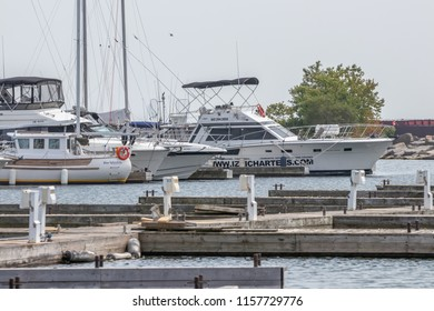 MISSISSAUGA, CANADA-AUGUST 15TH, 2018; Port Credit Harbour on a hot sunny afternoon. Established as a trading post, Port Credit is now a hub for recreation and entertainment in the west GTA.