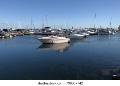MISSISSAUGA, CANADA-OCTOBER 8TH, 2017:Port Credit Harbour just west of Toronto. Established as a trading post in 1720, Port Credit is now a hub for entertainment and recreation.