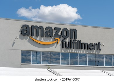 Mississauga, On, Canada - August 2, 2021: Close up of Amazon Fulfillment Centre sign in Mississauga, On, Canada. Amazon.com, Inc. is an American multinational technology company.