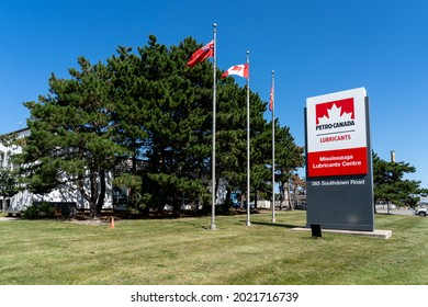 Mississauga, On, Canada - August 2, 2021: Petro Canada lubricants Centre in Mississauga, On, Canada. Petro-Canada Lubricants is a Canadian company produces lubricants, specialty fluids and greases.