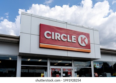 Mississauga, ON, Canada - June 12, 2021: Close-up of  Circle K sign on the building. Circle K Stores, Inc. is an international chain of convenience stores, owned by Canadian Alimentation Couche-Tard.