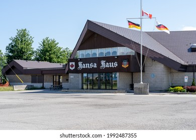 Mississauga, ON, Canada - June 12, 2021: Hansa Haus in Mississauga, ON, Canada. Hansa Haus (The German Canadian Club Hansa) is a Centre for German Cultural Heritage in Ontario's Peel Region.
