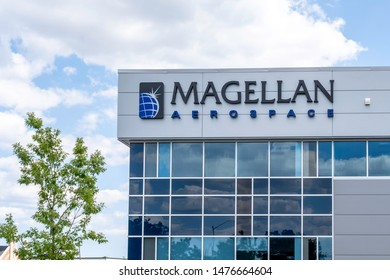 Mississauga, Ontario, Canada - August 11, 2019: Sign of Magellan on its new facility in Mississauga, Ontario, Canada. Magellan Aerospace Corporation is a Canadian manufacturer of aerospace systems