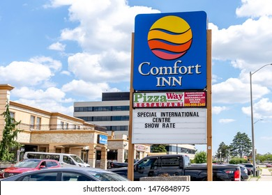 Mississauga, Ontario, Canada - August 11, 2019: Sign and logo of Comfort Inn near Pearson Airport in Mississauga, Ontario, Canada. Comfort Inn is a subdivision of American Choice Hotels International.