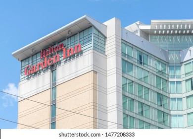 Mississauga, Ontario, Canada - August 11, 2019: Sign of  Hilton Garden Inn on the building near Pearson Airport in Mississauga, Ontario, Canada, a brand of hotels targeted business travelers.