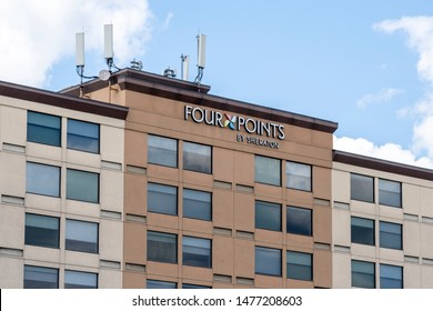 Mississauga, Ontario, Canada - August 11, 2019: Sign of  Four Points by Sheraton on the building near Pearson Airport in Mississauga, Ontario, Canada, a brand of hotels targeted business travelers.
