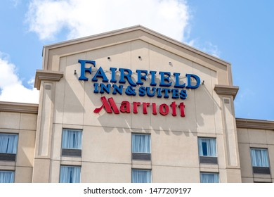 Mississauga, Ontario, Canada - August 11, 2019: Sign of  Fairfield Inn by Marriott on the building near Pearson Airport in Mississauga, Ontario, Canada, a economy chain of hotels franchised by Marriot