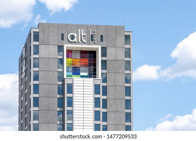 Mississauga, Ontario, Canada - August 11, 2019: Sign of  Alt hotel on the building near Pearson Airport in Mississauga, Ontario, Canada, owned and operated by a Canadian business Group Germain Hotels.