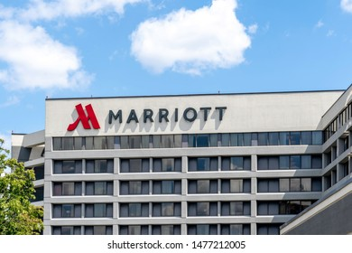 Mississauga, Ontario, Canada - August 11, 2019: Sign of Marriott on the building near Pearson Airport in Mississauga, Ontario, Canada. Marriott International is an American hospitality company.