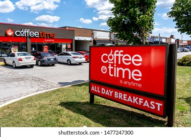 Mississauga, Ontario, Canada - August 11, 2019: One of the Coffee Time near Pearson Airport in Mississauga, Ontario, Canada. Coffee Time is a chain of Canadian snack and coffee shops.