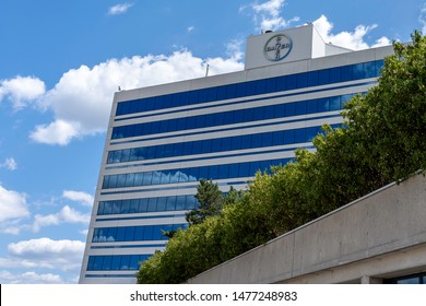 Mississauga, Ontario, Canada - August 11, 2019: Bayer Canada head office building in Mississauga, Ontario, Canada. Bayer AG is a German multinational, pharmaceutical and life sciences company.