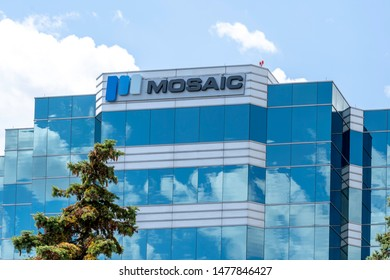 Mississauga, Ontario, Canada - August 11, 2019: The corporate office building of Mosaic Sales Solutions in Mississauga, Ontario, Canada, a marketing & sales company in North America.