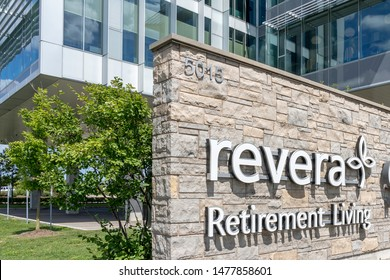 Mississauga, Ontario, Canada - August 11, 2019: Revera Inc. corporation office sign in Mississauga, Ontario, Canada. Revera is a Canadian provider of accommodation, care and services for seniors.