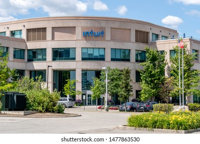 Mississauga, Ontario, Canada - August 11, 2019: Intuit Inc. corporation office building in Mississauga, Ontario, Canada. Intuit Inc. is an American business and financial software company.