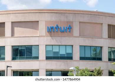 Mississauga, Ontario, Canada - August 11, 2019:  Sign of Intuit Inc. on the corporation building in Mississauga, Ontario, Canada. Intuit Inc. is an American business and financial software company.