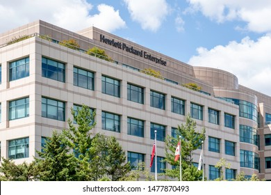 Mississauga, Ontario, Canada - August 11, 2019:  Hewlett-Packard  corporation office building in Mississauga, Ontario, Canada, an American multinational information technology company.