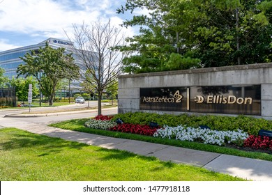 Mississauga, Ontario, Canada - August 11, 2019:  AstraZeneca plc Canada head office in Mississauga, Ontario, Canada. AstraZeneca plc is a British-Swedish pharmaceutical and biopharmaceutical company.