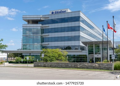 Mississauga, Ontario, Canada - August 11, 2019:  EllisDon Headquarters in Mississauga, Ontario, Canada. EllisDon is a Canadian world-leading construction and building services company.