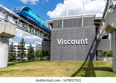 Mississauga, Ontario, Canada - August 11, 2019:  Viscount station with train in Mississauga, Ontario, Canada. Viscount station is the Link Train automated people mover serving Toronto Pearson Airport.