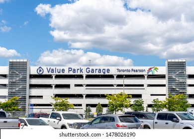 Mississauga, Ontario, Canada - August 11, 2019: Exterior view of value park garage in Mississauga, Ontario, Canada, a  conveniently, covered parking right at Toronto Pearson International Airport.