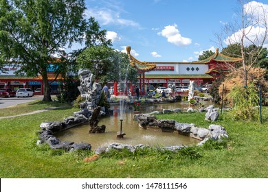 Mississauga, Ontario, Canada - August 11, 2019: The garden in Mississauga Chinatown, Ontario, Canada. Mississauga Chinatowns is an ethnic neighbourhoods .