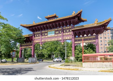Mississauga, Ontario, Canada - August 11, 2019: Gate of the Chinatown in Mississauga, Ontario, Canada. Mississauga Chinatowns is an ethnic neighborhood .