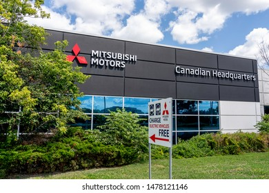 Mississauga, Ontario, Canada - August 11, 2019: Mitsubishi Motors Canadian headquarters in Mississauga, Ontario, Canada. The Mitsubishi Group is a group of autonomous Japanese companies.
