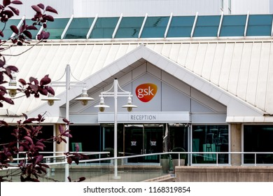 Mississauga, Ontario, Canada- August 25, 2018: Entrance of gsk canada in Mississauga. GlaxoSmithKline plc (GSK) is a British pharmaceutical company headquartered in Brentford, London.