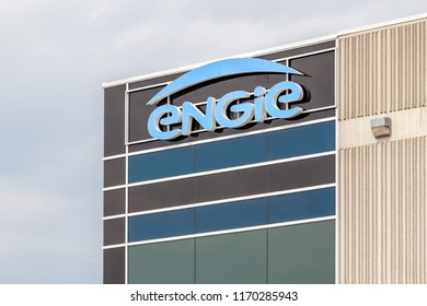 Mississauga, Ontario, Canada- August 25, 2018: Sign of ENGIE on the building of ENGIE MultiTech in Mississauga, one of Canada's largest and most reputable mechanical contractors.
