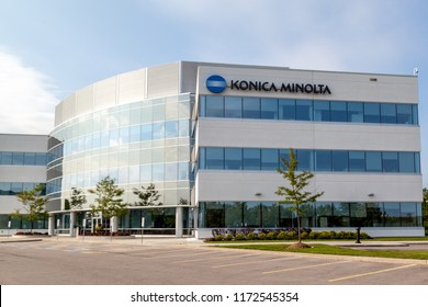 Mississauga, Ontario, Canada- August 25, 2018:  Building of Konica Minolta Business Solutions (Canada) Ltd. in Mississauga,  a Japanese multinational technology company.