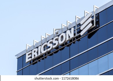 Mississauga, Ontario, Canada- August 25, 2018: Ericsson sign on the building of Ericsson Canada Corporate Office in Mississauga, a Swedish networking and telecommunications company.