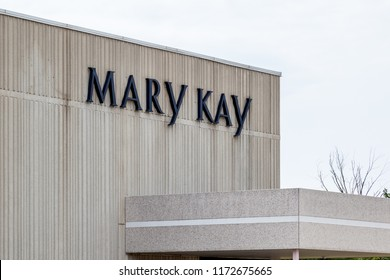 Mississauga, Ontario, Canada- August 25, 2018: Sign of Mary Kay on the building of Mary Kay Cosmetics Ltd in Mississauga, a company manufactures and supplies skin care (subsidiary of Mary Kay Inc.).